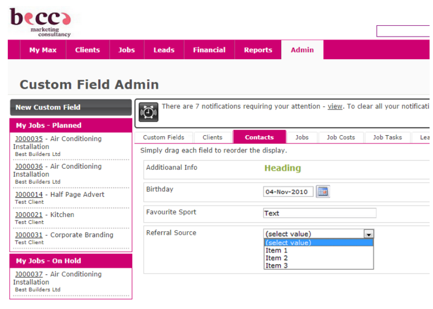 custom fields WorkflowMax screenshot3