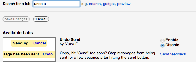 undo send on gmail