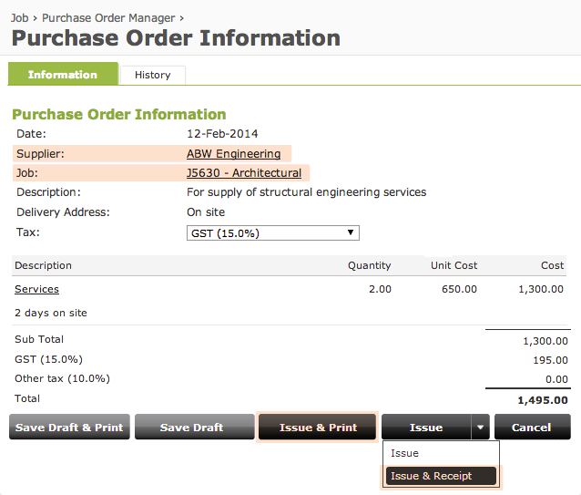 Online purchase order management software