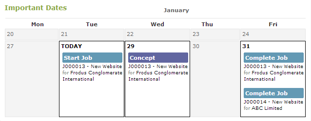 Never miss a deadline with the important dates screen