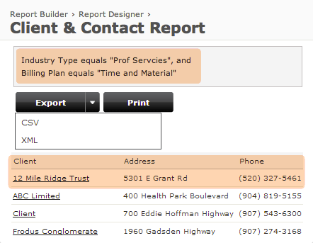 Client & Contact - Report