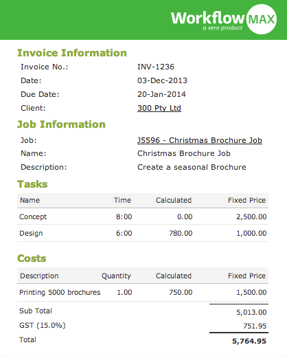 online invoicing management software | workflowmax, Invoice examples