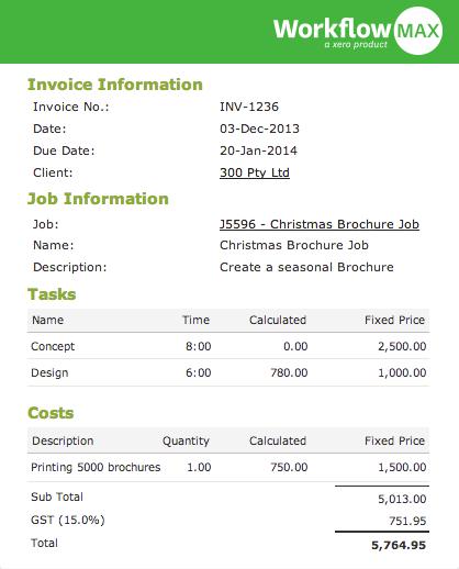 WorkflowMax invoices in Xero