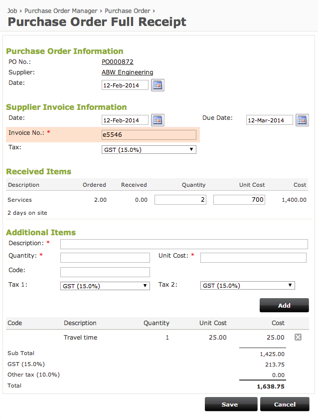 Online purchase order system