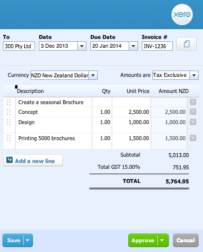 Sales invoices integrate with Xero