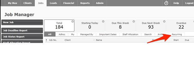 Recurring Jobs WorkflowMax