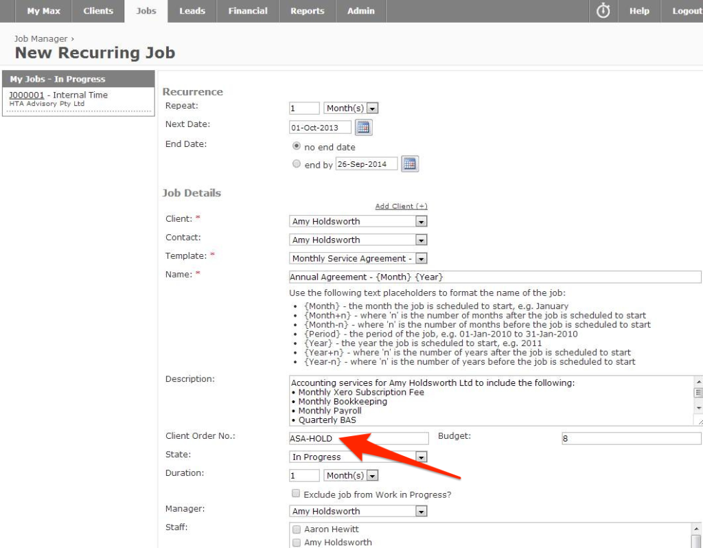 New Recurring Job - WorkflowMax