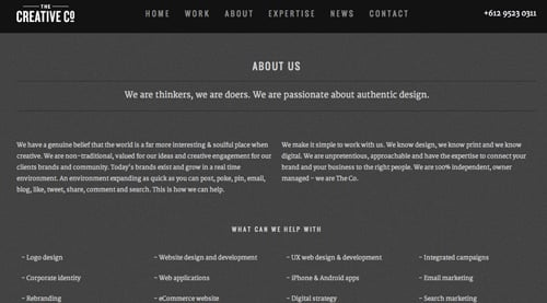 the creative co about page