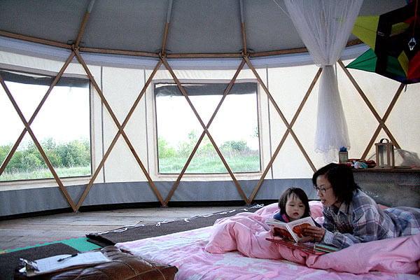 Modern Yurt interior.