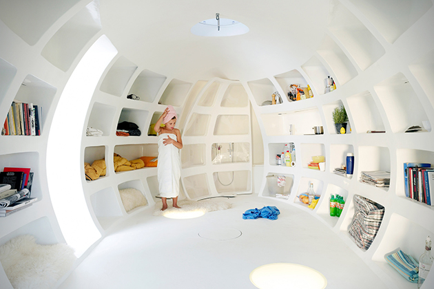 """Futuristic interior of """"the Blob""""."""