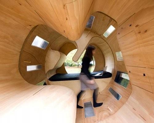 Rollit homes work like a giant hamster wheel.