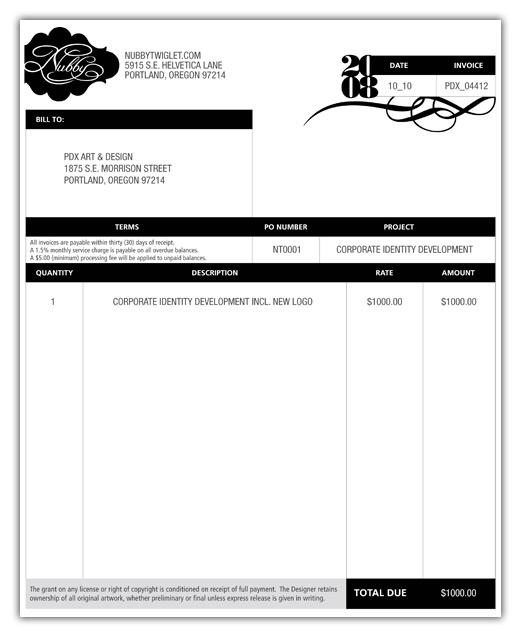 freelance design invoice