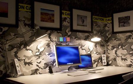 This camo-print office is really funky!