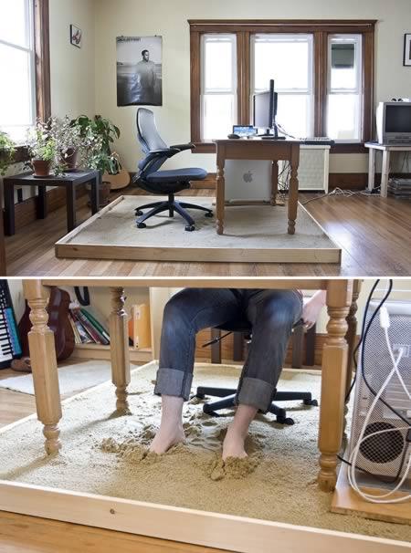 Sandpit desk.