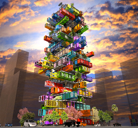 Hive-Inn, a concept hotel by OVA Studio, is built from shipping containers.