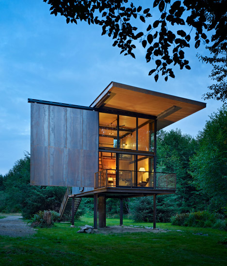 Sol Duc Cabin by Olson Kundig Architects is able to be closed off with steel shutters to create a kind of cosy apocalyptic bunker.