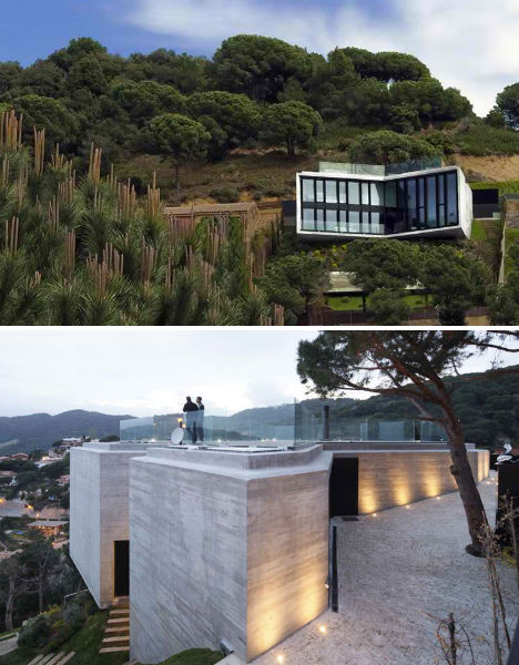 Cadaval & Solá-Morales architects created a two-story, X-shaped residence that clings to this cliff.