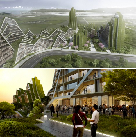 The Bjarke Ingels Group created this mountain-inspired mixed-use complex complete with walkable green roofs.