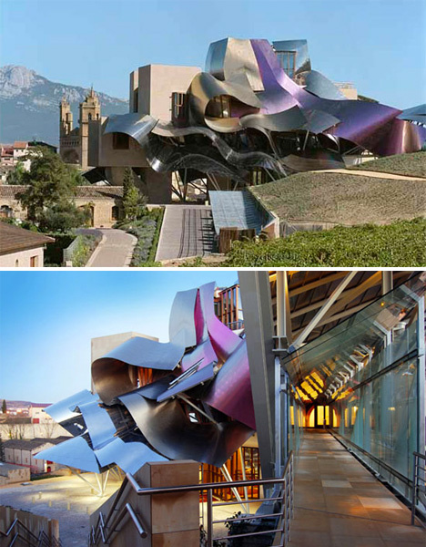 The City of Wine complex for the Marques de Riscal Winery in Elciego, northern Spain by Frank Gehry.