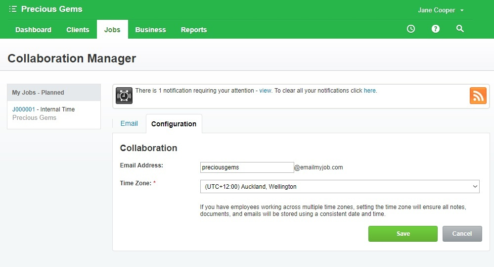 workflowmax collaboration manager email set up