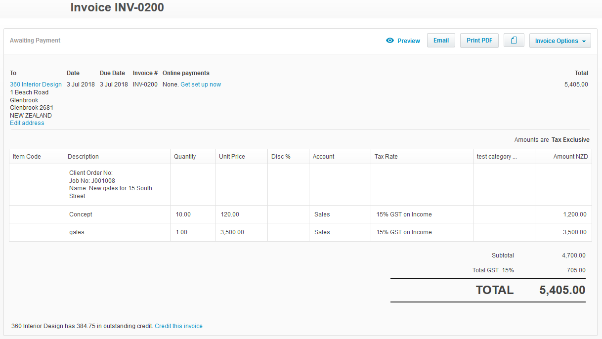Invoice in xero, no payment