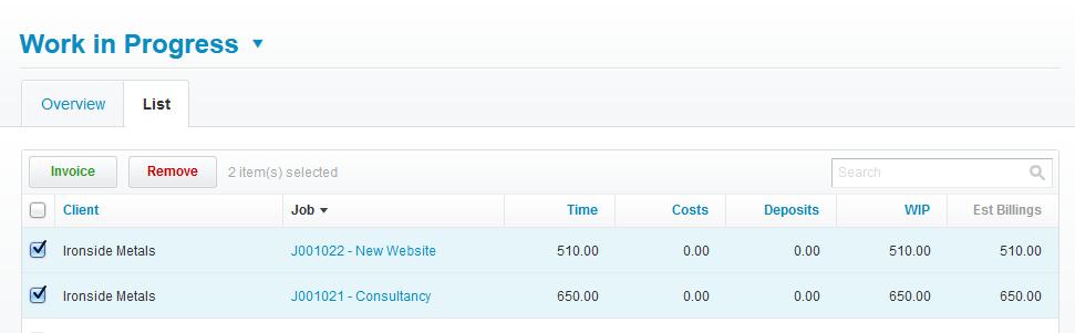 Create WIP invoice WorkflowMax