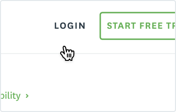 Screenshot of cursor hovering over login
