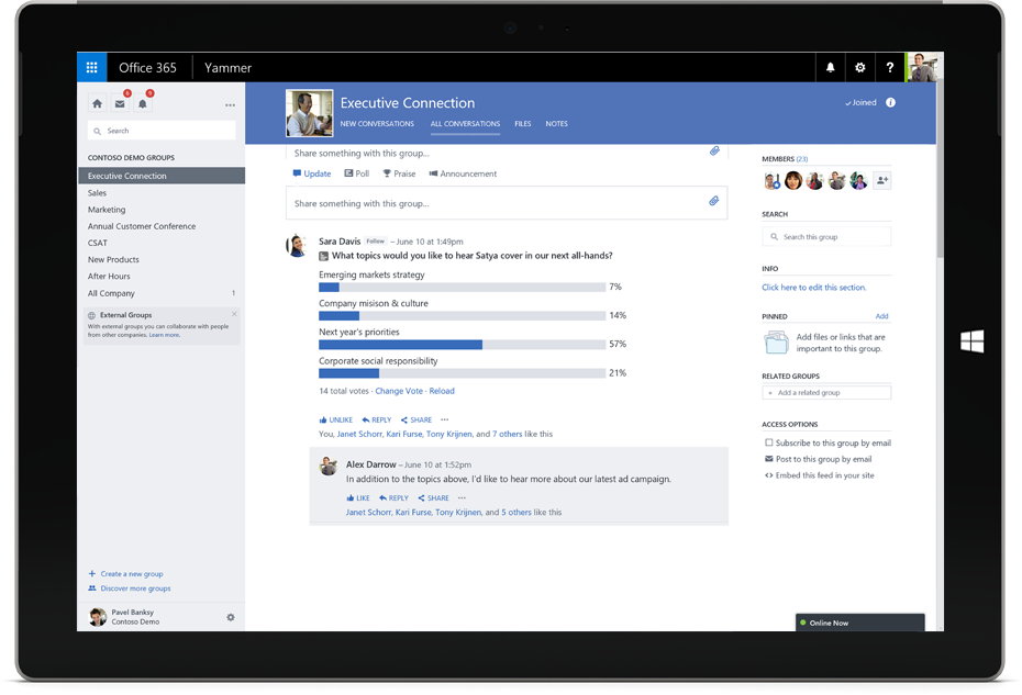 Yammer communication