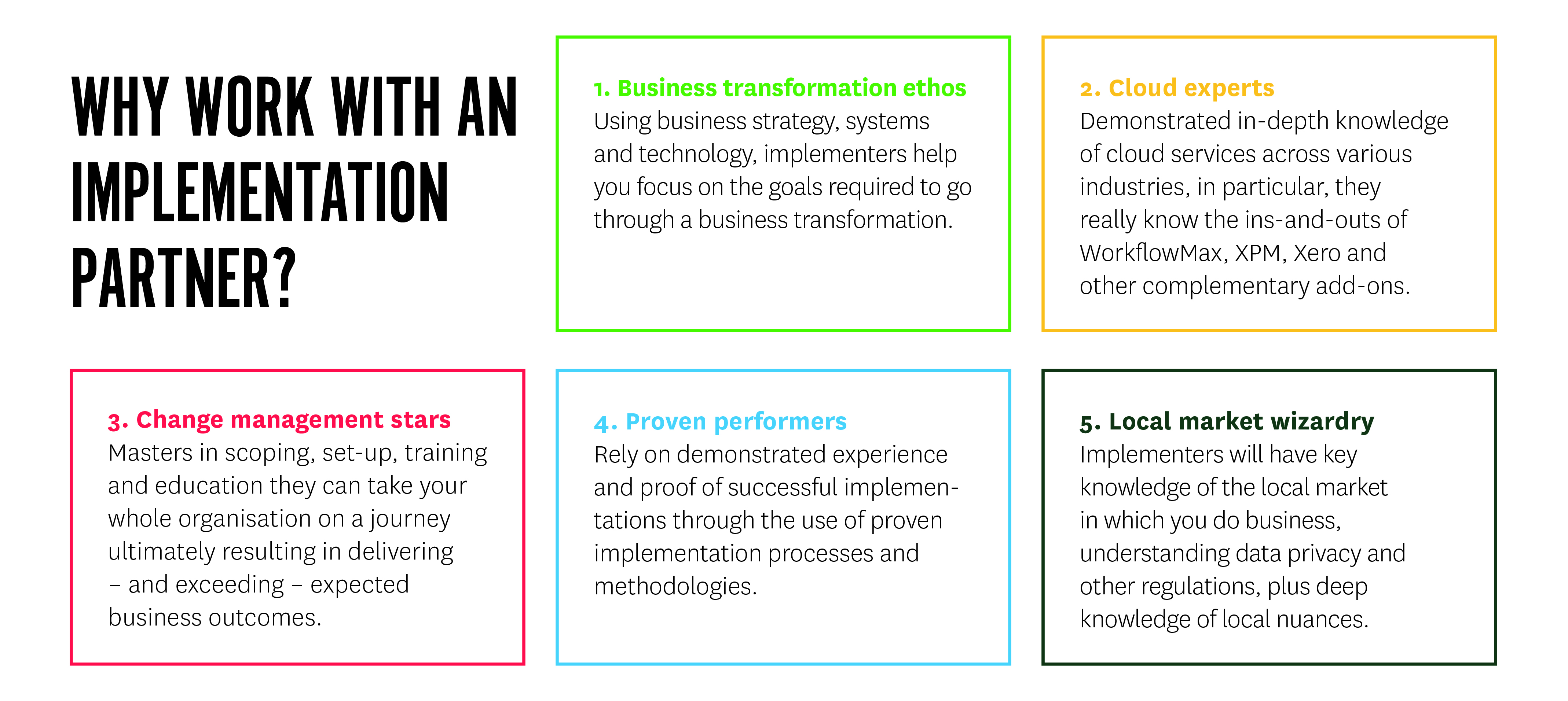 Why work with an implementation partner graphic for blog
