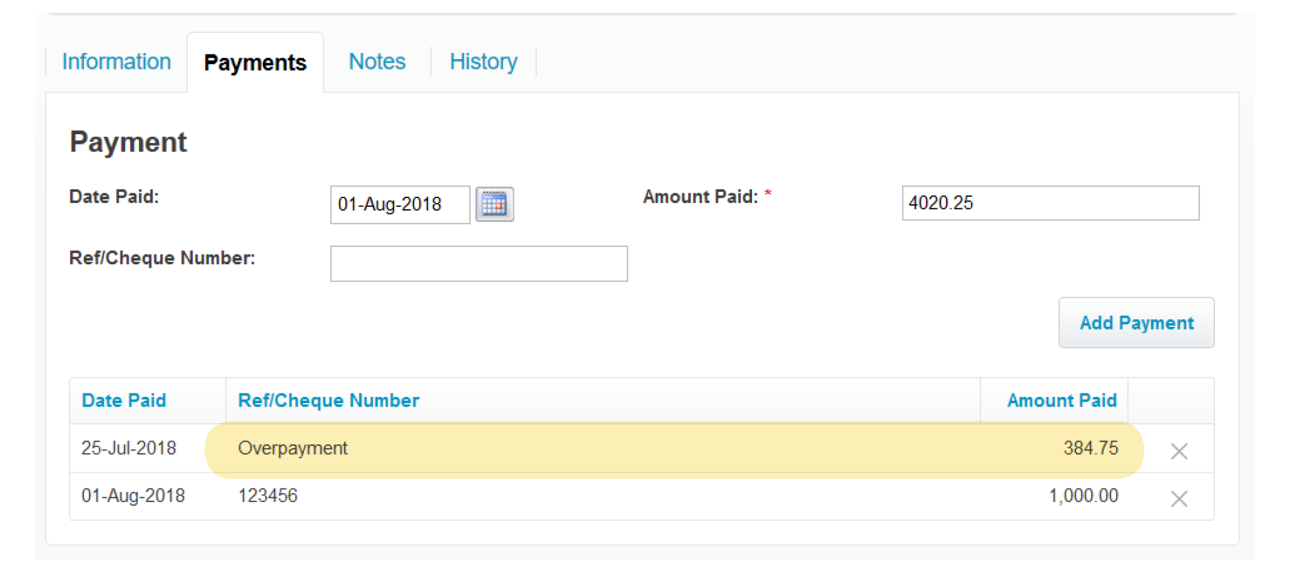 payments tab WorkflowMax