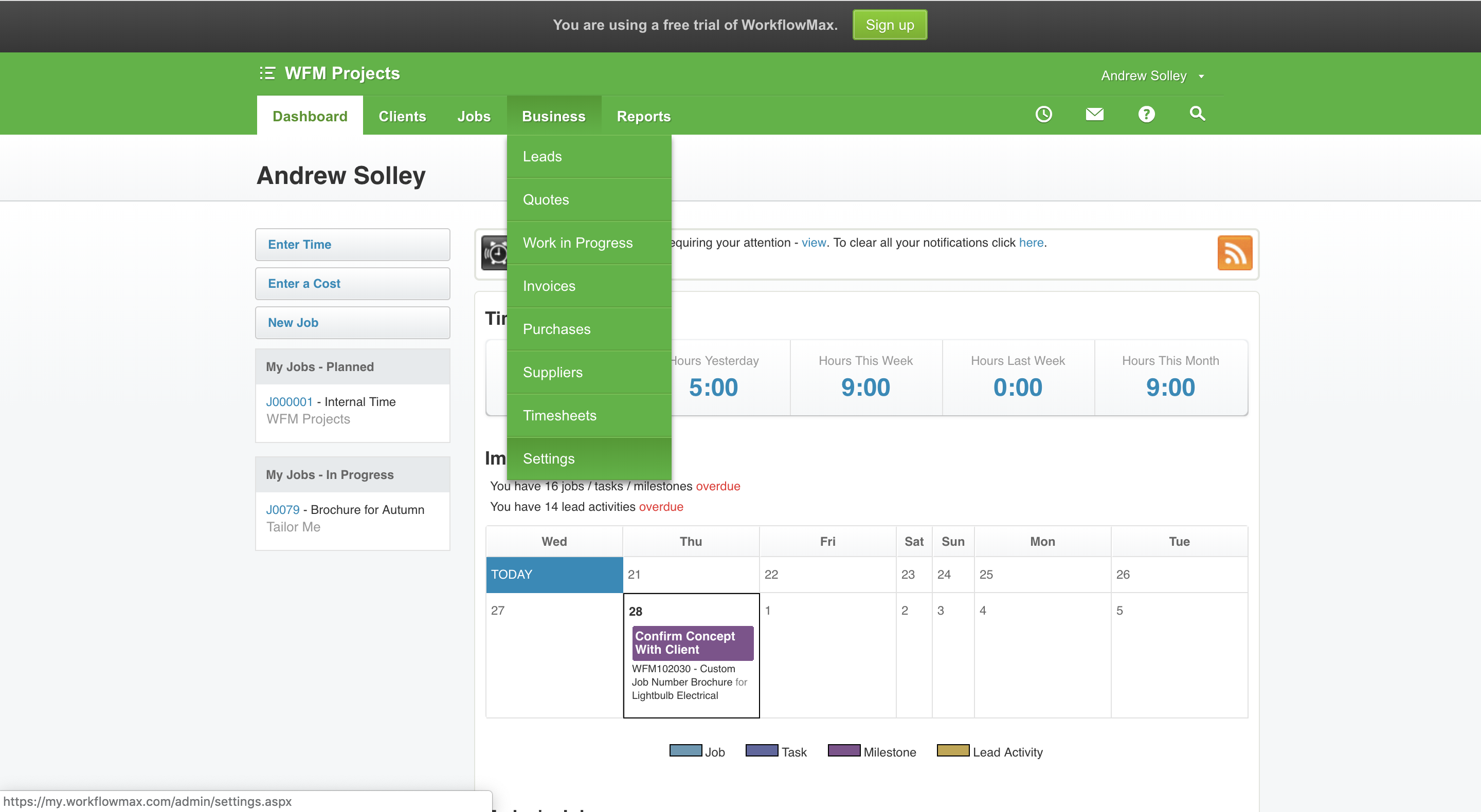 time entry example 1 WorkflowMax