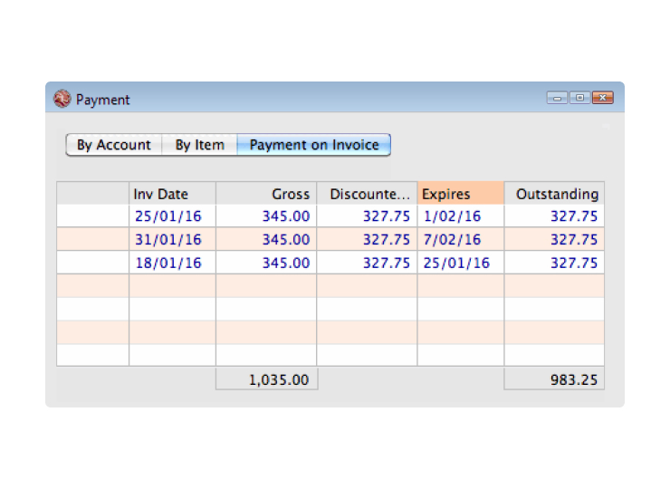 Money works payment on invoice