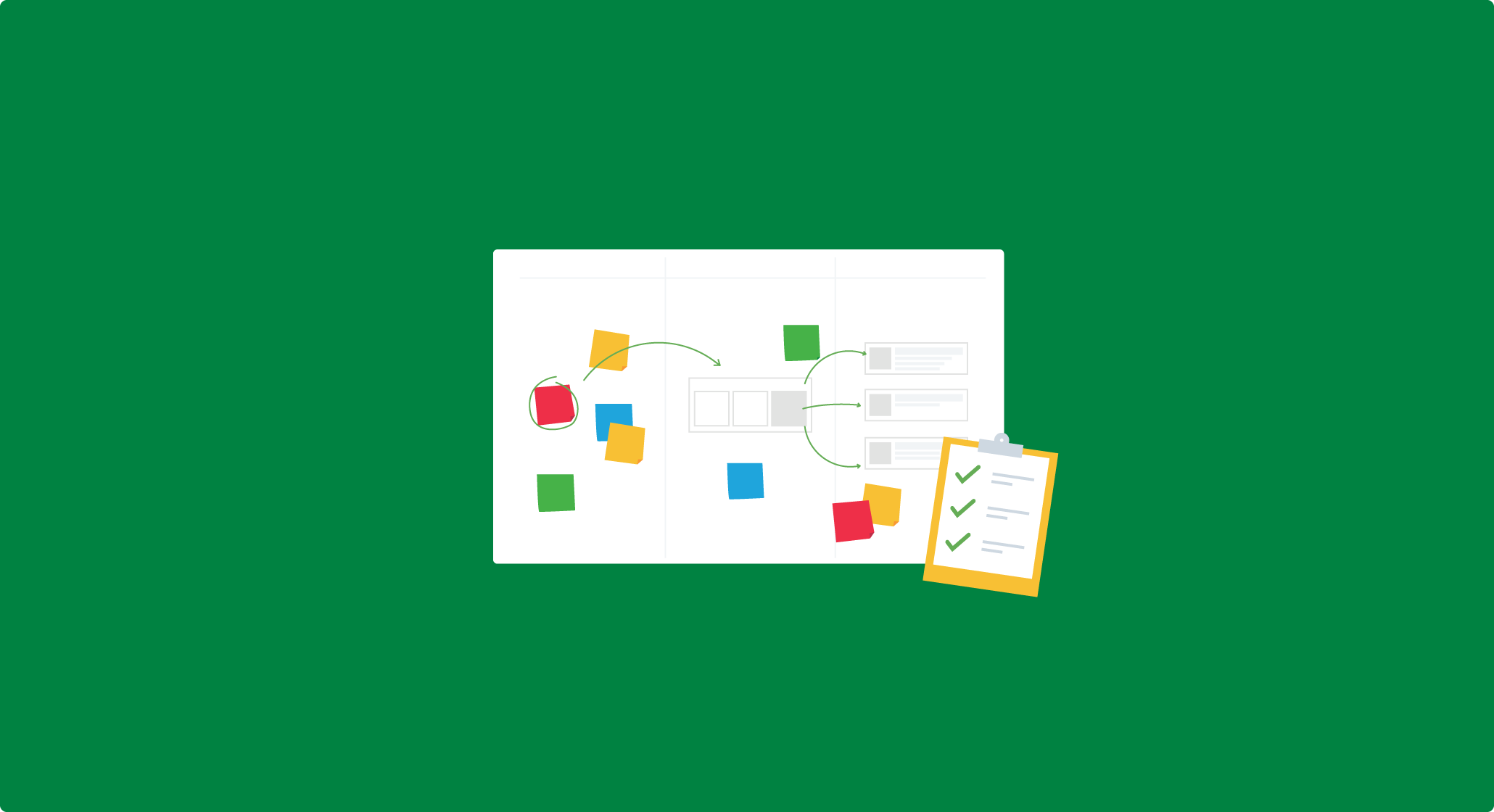 Project planning with a whiteboard and checklist