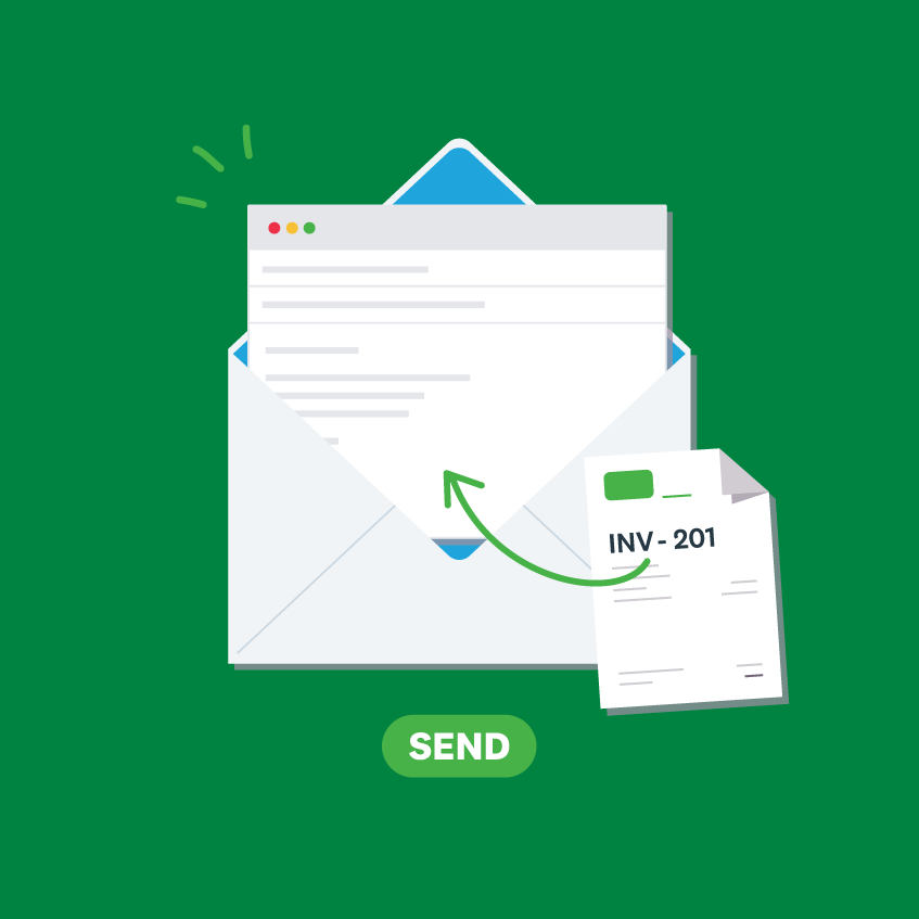 Invoice attached to an invoice email