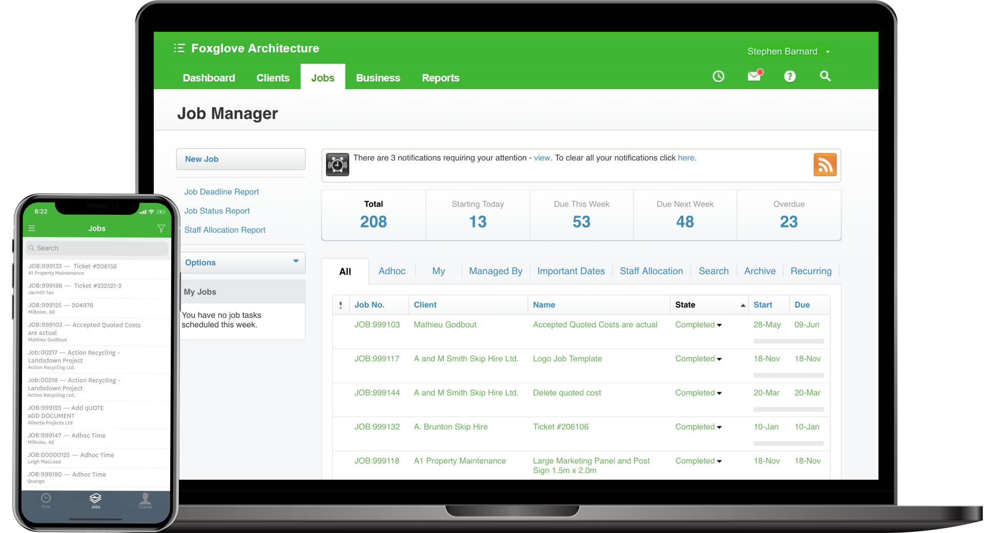 Screenshot of WorkflowMax's Job & Staff Management