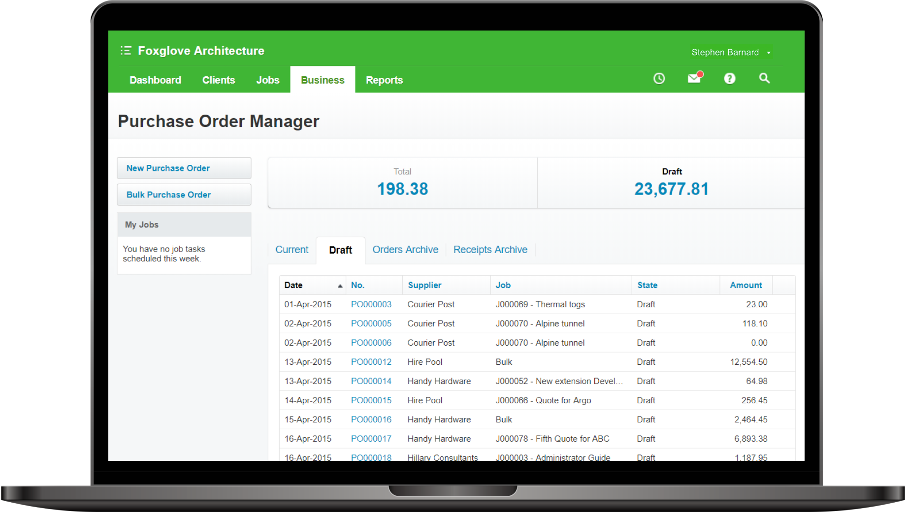 Screenshot of purchase order manager